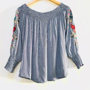 MISS LILI Blue & White Stripe Embroidered Shirt M